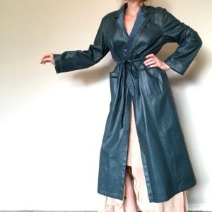 Vtg Reversible Blue Leather/Suede Trench Coat